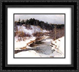 The Frozen Pool, March 22x20 Black or Gold Ornate Framed and Double Matted Art Print by Willard Metcalf