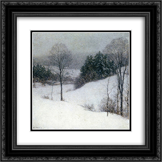 The White Veil 20x20 Black or Gold Ornate Framed and Double Matted Art Print by Willard Metcalf