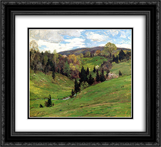 Flying Shadows 22x20 Black or Gold Ornate Framed and Double Matted Art Print by Willard Metcalf