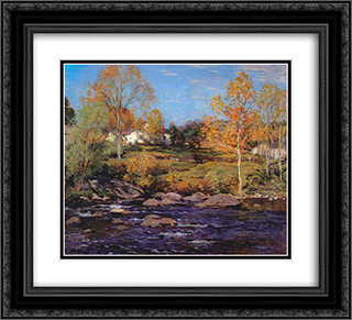 October Morning (no 1) 22x20 Black or Gold Ornate Framed and Double Matted Art Print by Willard Metcalf