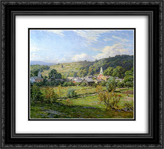 September Morning, Plainfield, New Hampshire 22x20 Black or Gold Ornate Framed and Double Matted Art Print by Willard Metcalf