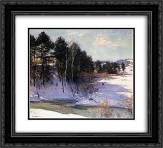 Thawing Brook (Winter Shadows) 22x20 Black or Gold Ornate Framed and Double Matted Art Print by Willard Metcalf