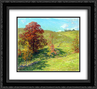 The Red Oak (no.2) 22x20 Black or Gold Ornate Framed and Double Matted Art Print by Willard Metcalf