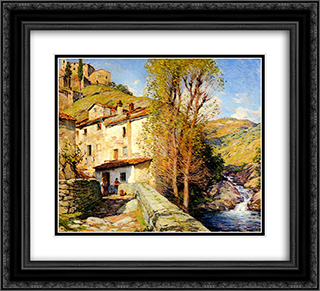 Old Mill, Pelago, Italy 22x20 Black or Gold Ornate Framed and Double Matted Art Print by Willard Metcalf