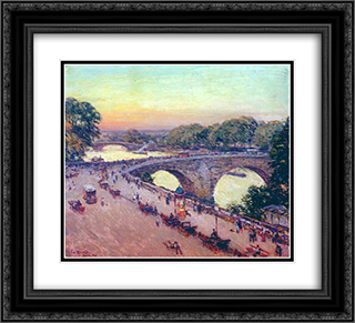 Pont Royal 22x20 Black or Gold Ornate Framed and Double Matted Art Print by Willard Metcalf