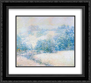The Winter's Festival 22x20 Black or Gold Ornate Framed and Double Matted Art Print by Willard Metcalf