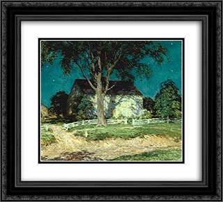 Old Homestead Connecticut 22x20 Black or Gold Ornate Framed and Double Matted Art Print by Willard Metcalf