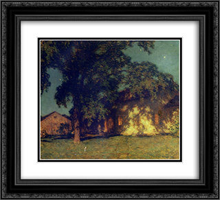 Summer Night (No. 2) 22x20 Black or Gold Ornate Framed and Double Matted Art Print by Willard Metcalf