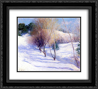 Winter in New Hampshire 22x20 Black or Gold Ornate Framed and Double Matted Art Print by Willard Metcalf
