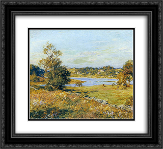 The Breath of Autumn (Waterford, Connecticut) 22x20 Black or Gold Ornate Framed and Double Matted Art Print by Willard Metcalf