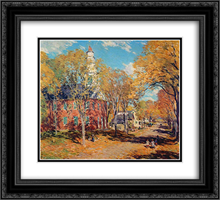 October Morning, Deerfield 22x20 Black or Gold Ornate Framed and Double Matted Art Print by Willard Metcalf