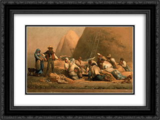 Harvesters Resting 24x18 Black or Gold Ornate Framed and Double Matted Art Print by Jean Francois Millet