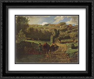 Manor farm Cousin in Greville 24x20 Black or Gold Ornate Framed and Double Matted Art Print by Jean Francois Millet
