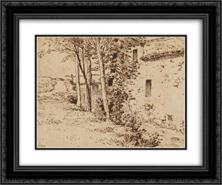 Water mill near Vichy 24x20 Black or Gold Ornate Framed and Double Matted Art Print by Jean Francois Millet