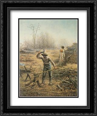 Lumberjack preparing firewood 20x24 Black or Gold Ornate Framed and Double Matted Art Print by Jean Francois Millet