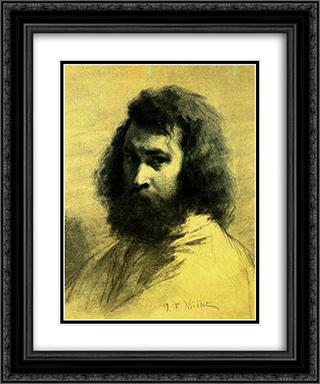 Self-Portrait 20x24 Black or Gold Ornate Framed and Double Matted Art Print by Jean Francois Millet