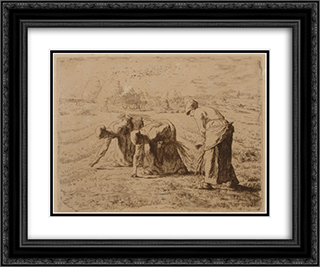 The Gleaners 24x20 Black or Gold Ornate Framed and Double Matted Art Print by Jean Francois Millet