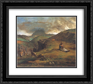 Puy de Dome 22x20 Black or Gold Ornate Framed and Double Matted Art Print by Jean Francois Millet