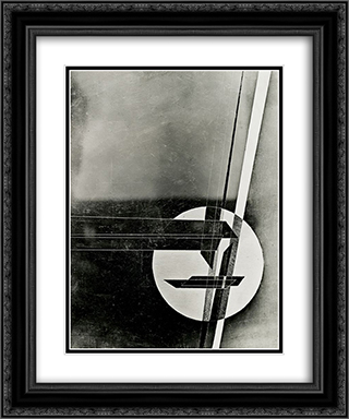 Composition 20x24 Black or Gold Ornate Framed and Double Matted Art Print by Laszlo Moholy Nagy
