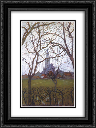 Village Church 18x24 Black or Gold Ornate Framed and Double Matted Art Print by Piet Mondrian
