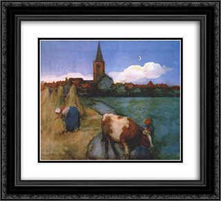 View of Winterswijk 22x20 Black or Gold Ornate Framed and Double Matted Art Print by Piet Mondrian