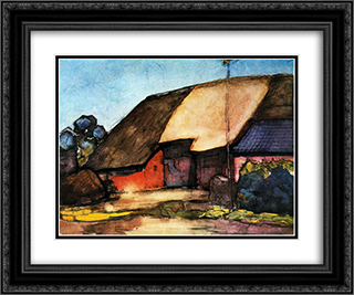 Small farm on Nistelrode 24x20 Black or Gold Ornate Framed and Double Matted Art Print by Piet Mondrian