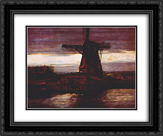 Stammer Mill with Streaked Sky 24x20 Black or Gold Ornate Framed and Double Matted Art Print by Piet Mondrian