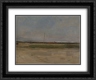 Polder Landscape with a Train and a Small Windmill on the Horizon 24x20 Black or Gold Ornate Framed and Double Matted Art Print by Piet Mondrian