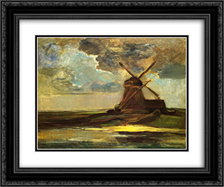 Windmill in the Gein 24x20 Black or Gold Ornate Framed and Double Matted Art Print by Piet Mondrian