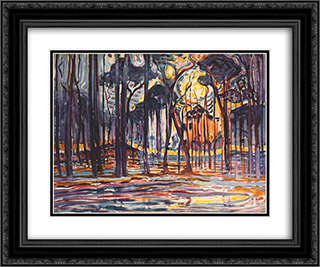 Woods near Oele 24x20 Black or Gold Ornate Framed and Double Matted Art Print by Piet Mondrian