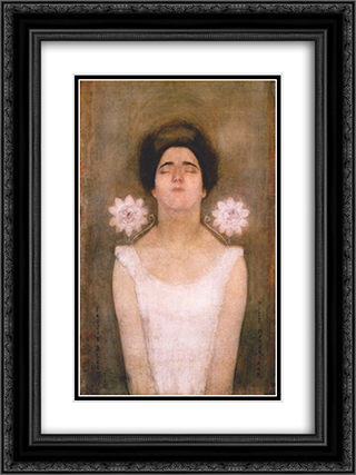 Passionflower 18x24 Black or Gold Ornate Framed and Double Matted Art Print by Piet Mondrian