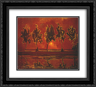 Trees by the Gein at Moonrise 22x20 Black or Gold Ornate Framed and Double Matted Art Print by Piet Mondrian