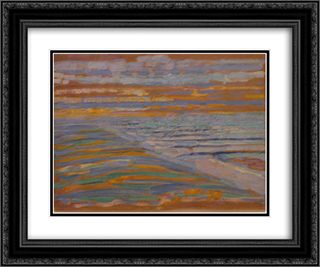 View from the Dunes with Beach and Piers 24x20 Black or Gold Ornate Framed and Double Matted Art Print by Piet Mondrian