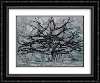 The Gray Tree 24x20 Black or Gold Ornate Framed and Double Matted Art Print by Piet Mondrian