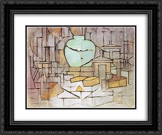 Still Life with Gingerpot 2 24x20 Black or Gold Ornate Framed and Double Matted Art Print by Piet Mondrian
