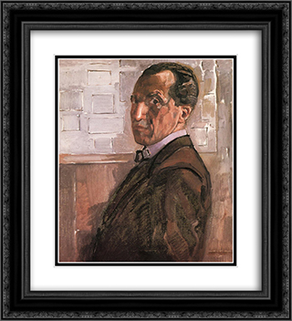 Self Portrait 20x22 Black or Gold Ornate Framed and Double Matted Art Print by Piet Mondrian