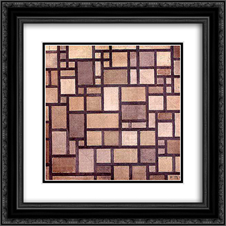 Composition: Light Color Planes with Grey Contours 20x20 Black or Gold Ornate Framed and Double Matted Art Print by Piet Mondrian