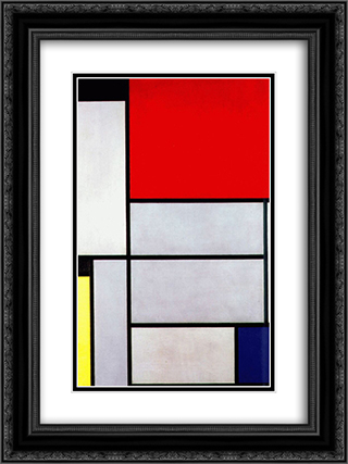 Tableau I 18x24 Black or Gold Ornate Framed and Double Matted Art Print by Piet Mondrian