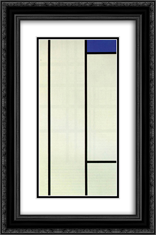 Vertical Composition with Blue and White 16x24 Black or Gold Ornate Framed and Double Matted Art Print by Piet Mondrian
