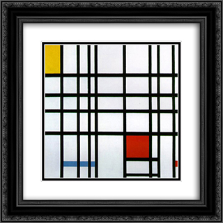 Composition with Red, Yellow and Blue 20x20 Black or Gold Ornate Framed and Double Matted Art Print by Piet Mondrian