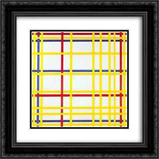 New York City I 20x20 Black or Gold Ornate Framed and Double Matted Art Print by Piet Mondrian