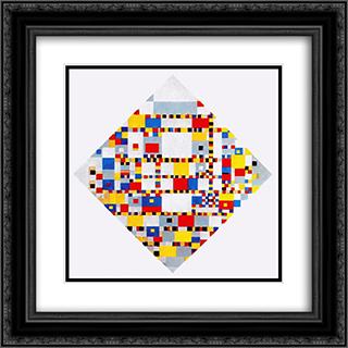 Victory Boogie Woogie 20x20 Black or Gold Ornate Framed and Double Matted Art Print by Piet Mondrian