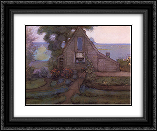 Triangulated Farmhouse Facade with Polder in Blue 24x20 Black or Gold Ornate Framed and Double Matted Art Print by Piet Mondrian