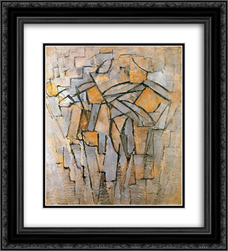 not identified 20x22 Black or Gold Ornate Framed and Double Matted Art Print by Piet Mondrian