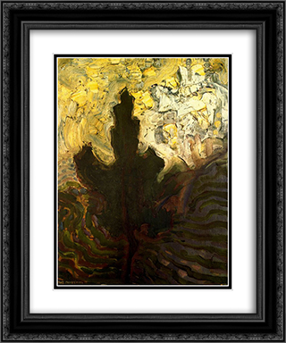 not identified 20x24 Black or Gold Ornate Framed and Double Matted Art Print by Piet Mondrian