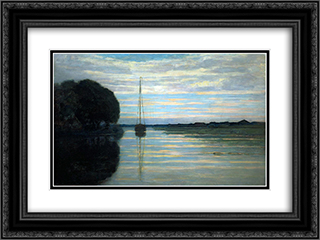 River view with a boat Sun 24x18 Black or Gold Ornate Framed and Double Matted Art Print by Piet Mondrian