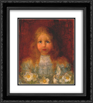 Portrait of a Girl with Flowers 20x22 Black or Gold Ornate Framed and Double Matted Art Print by Piet Mondrian