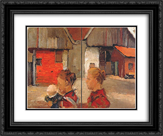 Woman and child in front of a farm 24x20 Black or Gold Ornate Framed and Double Matted Art Print by Piet Mondrian