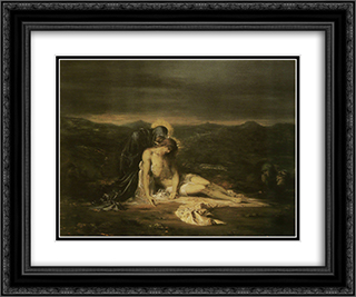 Pieta 24x20 Black Ornate Framed and Double Matted Art Print by Gustave Moreau