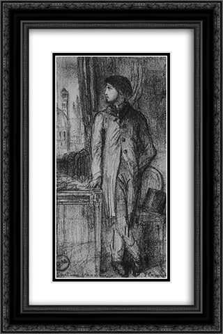 Portrait of Degas in Florence 16x24 Black Ornate Framed and Double Matted Art Print by Gustave Moreau